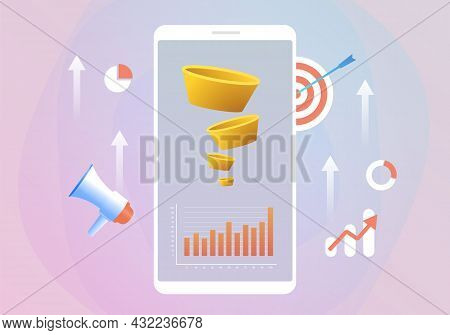 Lead Generation With Sales Funnel Concept For Increasing Conversion Rates, Marketing Strategy. Targe