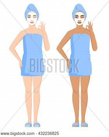 White And Black Women Wrapped In Towels After Bath Or Shower. Women Using Cosmetic Clay Or Sheet Mas