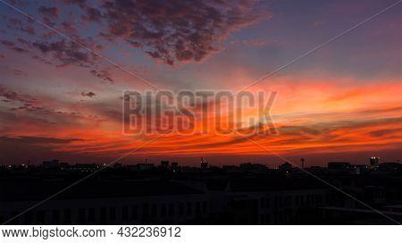 Twilight Sky Background. Colorful Sunset Sky And Cloud. Vivid Sky In Twilight Time Background. Fiery