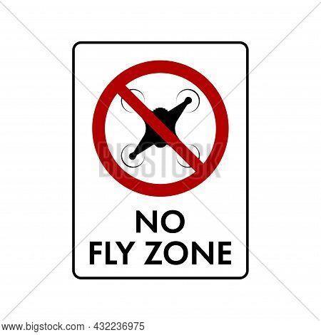 No Drone Zone Sign. No Drones Icon. Flights With Drone Circle Backslash Symbol, Nay, Prohibited Symb