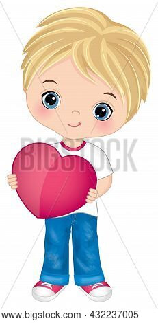 Cute, Little Boy Wearing Jeans And T-shirt Holding Heart. Vector St. Valentines Day. Cute Boy Is Blo