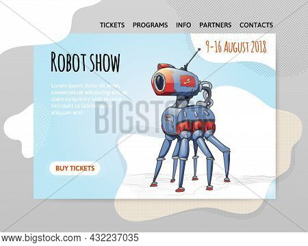 A Design Template For A Robot Exhibition, Show, Or Robotics School. A Six-legged Robot Animal. Vecto