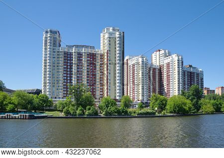 Moscow, Russia - June 3, 2021: Vasco Da Gama Residential Complex On The Bank Of The Moscow Canal In