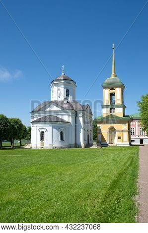 Moscow, Russia - June 17, 2021: Kuskovo Estate Museum. The Bell Tower And The Church Of The Origin O