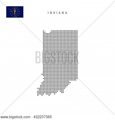 Square Dots Pattern Map Of Indiana. Dotted Pixel Map With Flag Isolated On White Background. Vector