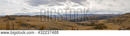 Panoramic Autumn View Of The Altai Mountains, Snowy Peaks And Mixed Forest. Severo-chuysky Ridge, Ch