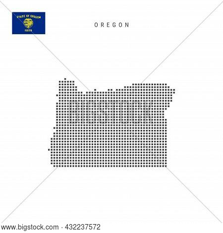 Square Dots Pattern Map Of Oregon. Dotted Pixel Map With Flag Isolated On White Background. Vector I