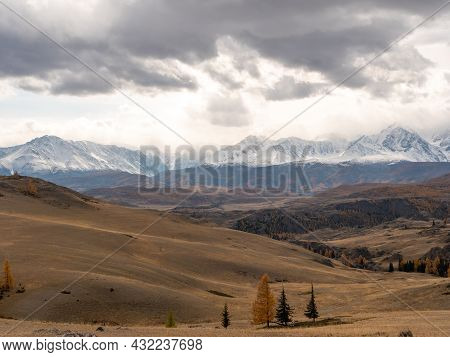 Autumn View Of The Altai Mountains, Snowy Peaks And Mixed Forest. Severo-chuysky Ridge, Chuysky Trac