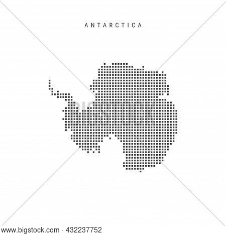Square Dots Pattern Map Of Antarctica. Dotted Pixel Map Isolated On White Background. Vector Illustr