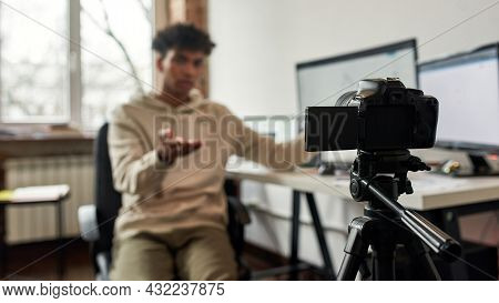 Web Banner Close Up On Camera Blurred Background Of African American Male Coach Trainer Shoot Webina