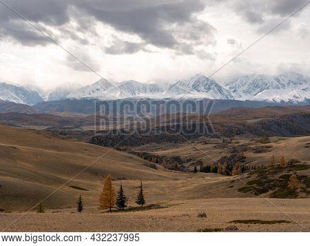 Autumn View Of The Altai Mountains, Snowy Peaks And Beautiful Landscape. Severo-chuysky Ridge, Chuys