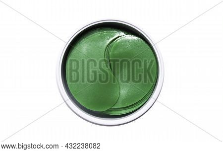Hydrogel Patches For The Skin Around The Eyes. Anti-aging Gel Patches Of Green Color. Isolate On A W