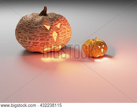 Two Pumpkins For Halloween On A Gray Background. 3d Render. Yellow Pumpkins Glowing Yellow From The