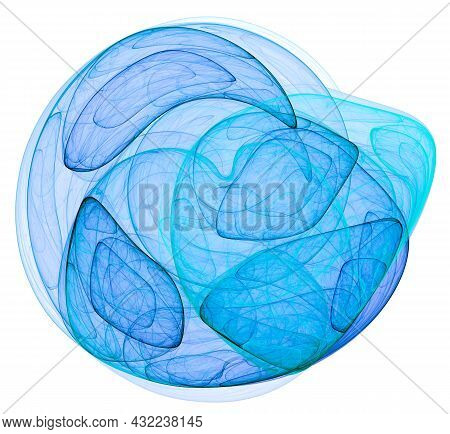 Blue Transparent Flowing Elements Overlap To Create A Rounded Element On A White Background. Abstrac