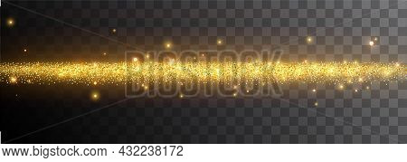 Light Effect On A Black Background. Gold Glowing Neon Line With Luminous Dust And Glares. Luminous T