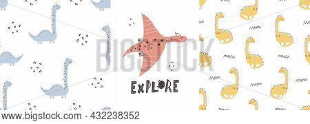 Cute Dinosaur Patterns With Lettering - Hand Drawn Childish Dinosaur Seamless Pattern Design. Vector