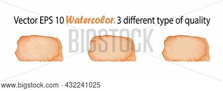 Vector Watercolor Stripes Illustration Isolated On White Background. Orange Color Brush Stripe In Th