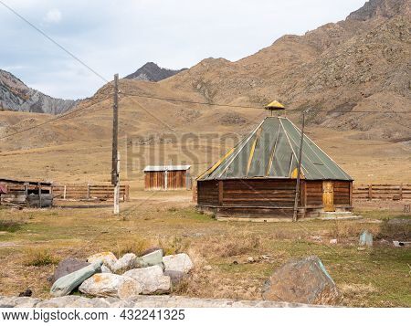 The Traditional National Dwelling Of The Altaians, Ail. Altai Mountains. Chuisky Tract, Altai Republ