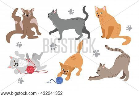 Funny Cartoon Cats In Different Poses. Domestic Cats Relax, Walking, Sitting And Playing, Happy And