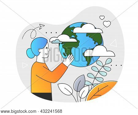 Old Mother Earth. Elderly Girl Works On Planet. Old Woman Looks At Sphere. Exploring Map Of World. G