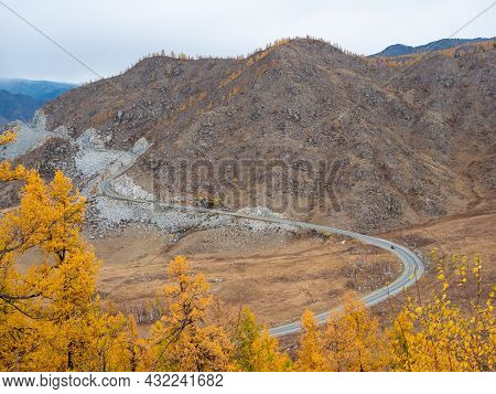 Autumn View Of The Altai Mountains From The Chike-taman Pass. Chuysky Tract, Altai Republic, Russia.