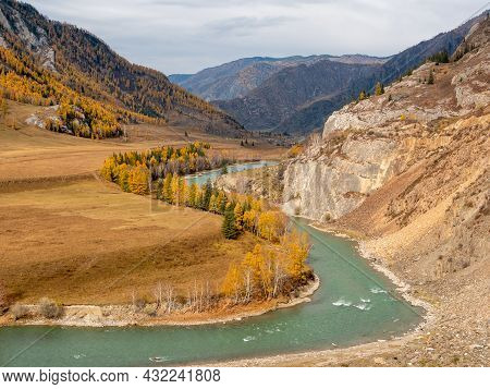 Autumn View Of The Altai Mountains And The Chuya River. Chuisky Tract, Altai Republic, Russia.