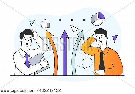 Way Choice Concept. Businessmen Choose Company Development Strategy. Confused Men Think About Right
