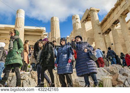 Tourist At Acropolis Site, Athens, Greece