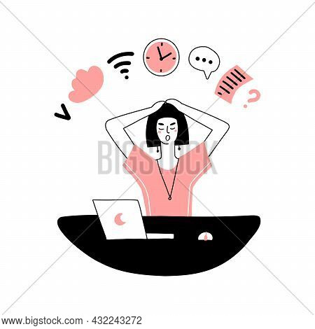 Multitasking Woman At The Workplace. Checking Mail, Notifications, Reminders, Schedule, Working At T