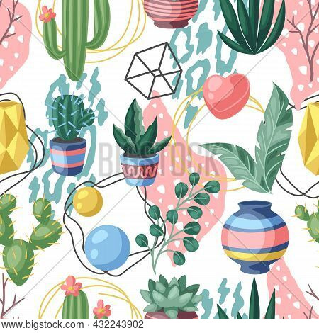 Seamless Pattern With Cactuses And Succulents. Decorative Spiky Flowering Cacti And Plants In Flower