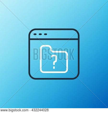 Line File Missing Icon Isolated On Blue Background. Colorful Outline Concept. Vector