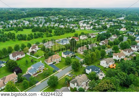 Flight With A Drone Over A With Low Houses In Small Town On A Sunny Day On Usa