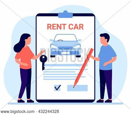 Car Rent, Lease Auto. Sign Document And Owner Give Automobile Key To Customer. Agreement Of Rental C