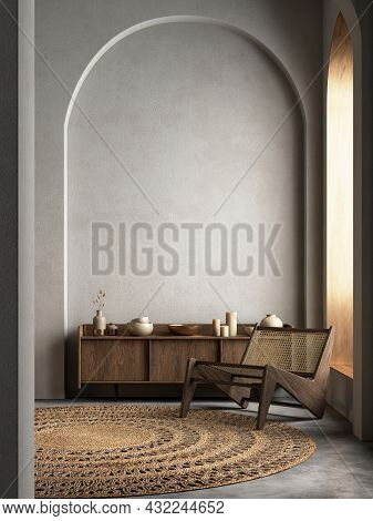 Interior With Arcs, Dresser, Lounge Chair And Decor. 3d Render Illustration Mockup.