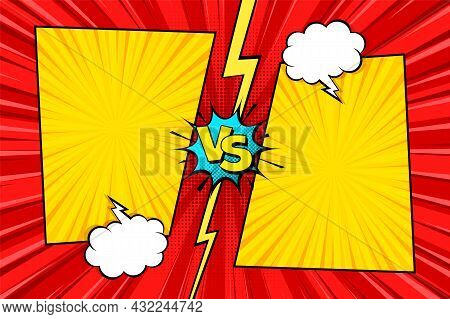 Cartoon Comic Background. Fight Versus. Comics Book Colorful Competition Poster With Halftone Elemen