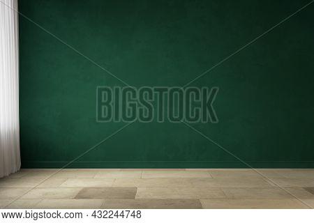 Dark Green Blank Wall Interior With Wood Floor. 3d Render Illustration Mockup.