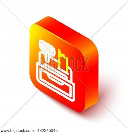 Isometric Line Cash Register Machine With A Check Icon Isolated On White Background. Cashier Sign. C