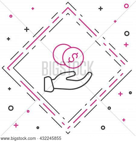 Line Donation Hand With Money Icon Isolated On White Background. Hand Give Money As Donation Symbol.
