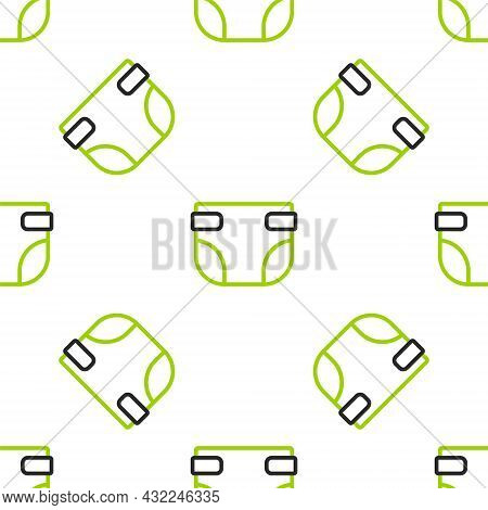 Line Baby Absorbent Diaper Icon Isolated Seamless Pattern On White Background. Vector