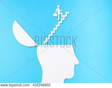 Uplifting And Business Prosper Concept, Paper Cut Open Head With Stairs Up