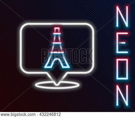 Glowing Neon Line Eiffel Tower Icon Isolated On Black Background. France Paris Landmark Symbol. Colo