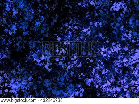 Black Blue Vintage Background With Spots, Splashes And Dots. Watercolor Texture With Blur And Gradie
