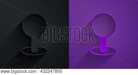 Paper Cut Push Pin Icon Isolated On Black On Purple Background. Thumbtacks Sign. Paper Art Style. Ve