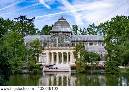 Madrid, Spain - September 7, 2021. Crystal Palace Located In The Retiro Park, A Green Lung Of The Ci