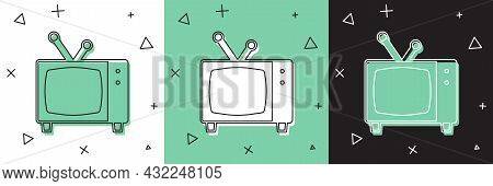 Set Retro Tv Icon Isolated On White And Green, Black Background. Television Sign. Vector