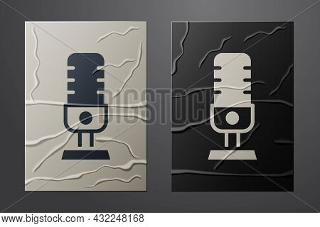 White Microphone Icon Isolated On Crumpled Paper Background. On Air Radio Mic Microphone. Speaker Si