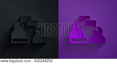 Paper Cut Two Sitting Men Talking Icon Isolated On Black On Purple Background. Speech Bubble Chat. M