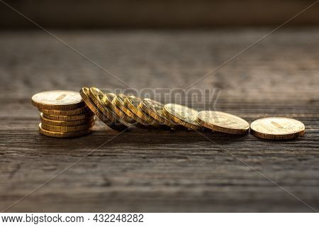 Money Background, Coins Close-up Scattered On A Wooden Table, The Concept Of Savings, Wealth, Bank D