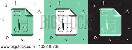 Set Mp3 File Document. Download Mp3 Button Icon Isolated On White And Green, Black Background. Mp3 M