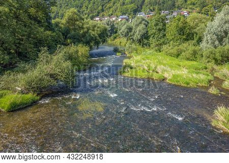 Sunny Scenery At River Kocher Near Niedernhall In Hohenlohe, A District In Southern Germany At Summe